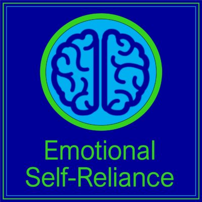 Logo for the Emotional Self-Reliance Podcast. Navy Blue Square with pinpoint lime green outline. In the center of the square, a light-blue circle with a lime-green outline surround the navy blue outline of a brain.