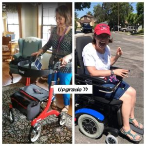 "Left side of the photo: Sarah standing before a red ""rollator"" walker with a surprised happy look on her face. Right Side of the photo shows Sarah in a Power wheelchair with BYU Blue motor and wheel cover months later with a happy smile on her face."